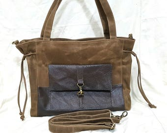 Mothers day, Leather Bag, Shoulder Bag, Tote Bag, Laptop bag, Waxed Canvas Bag, Diapers bag, School bag, Travel Bag, Gift for Women - EZ