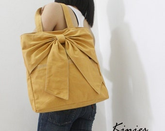 """SALE 10% off Use Coupon Code """"kinies10"""" - Last / QT Canvas Tote in Golden Rod"""