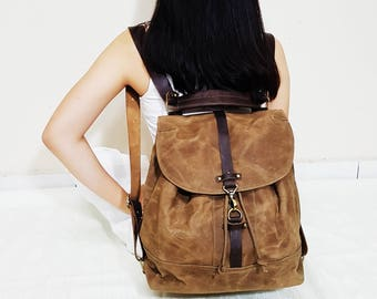 Genuine Leather and Waxed Canvas Convertible Backpack, Sling Bag, Shoulder Bag, Mothers day, Rucksack, Drawstring Bag, Hobo, Leather Strap