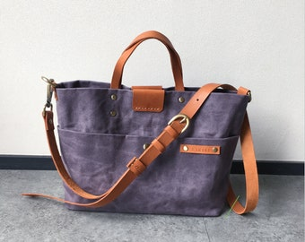 Waxed Canvas Sling Tote Bag in Gray with Genuine Leather Strap, Handheld Bag, Shoulder Bags, Personalized gift, Gift For Women - LS17