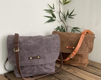 Personalized Zipper Waxed Canvas Satchel Bag with Leather Strap, bag for men, Satchel crossbody Bag, Personalized Gift, postman Bag