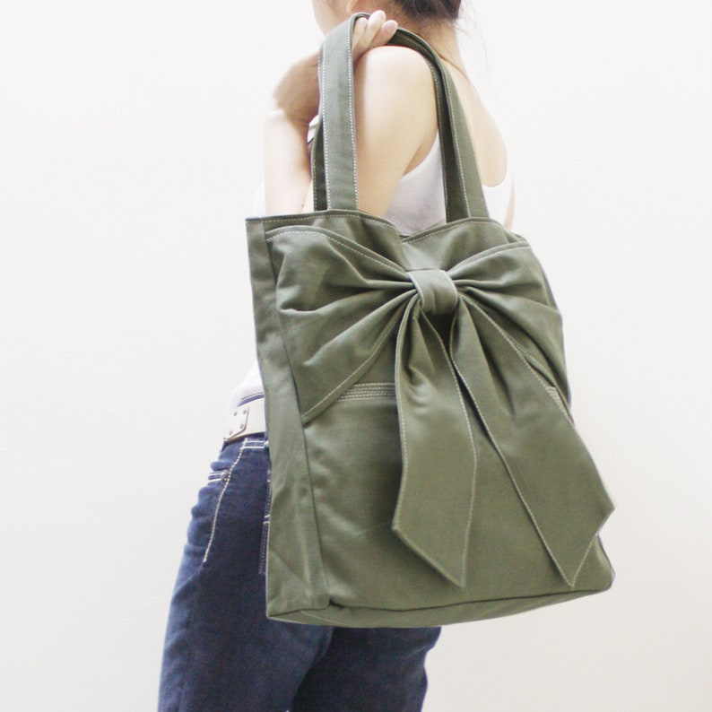 Shoulder Bag Travel bag Handbags Personalized Gift Army Green Bow Tote Tote bag FREE SHIPPING Diapers bag Gift for Women School Bag