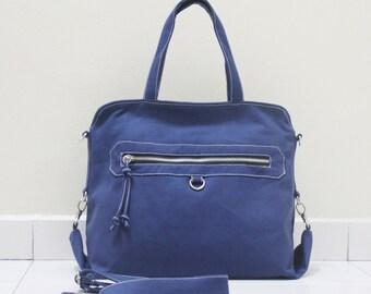 BACK TO SCHOOL 50%  Royal Blue Handheld Bag, Top Handled, Document bag, Tote bag, Zipper Bag, Crossbody Bag, Gift ideas For Women, Kinies