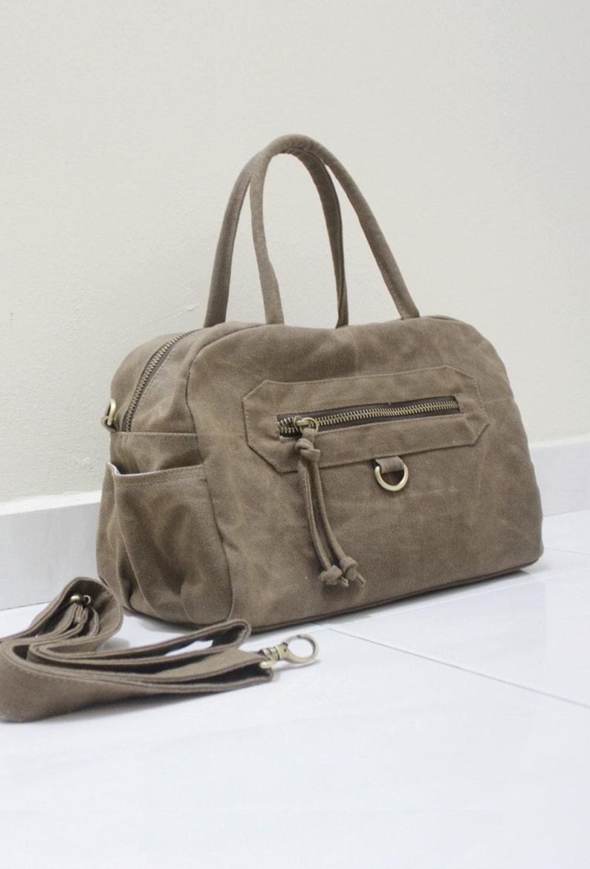a9de92043a FREE SHIPPING Waxed Canvas Brown Top Handle Bag Crossbody