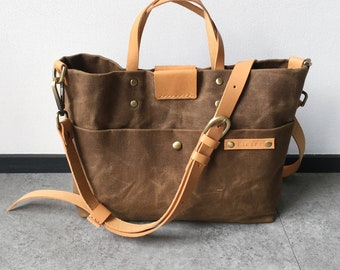 Easter gift, Waxed Canvas Sling Tote Bag in Brown with Leather Strap, Handheld Bag, Shoulder Bag, Personalized Christmas gift, Gift For her