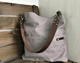 Personalized Waxed Canvas Zipper Shoulder Bag with Leather Strap in Light Gray, Minimalist Bag, Personalized Gift, Tote Bag, Gift for Her