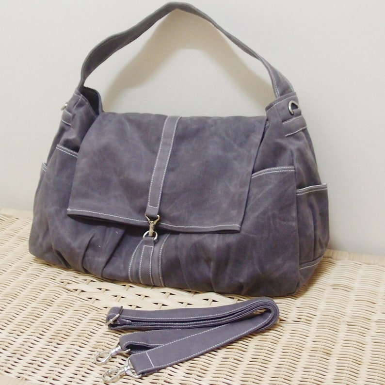 28a6deab85b04 FREE SHIPPING, Waxed Canvas Gray Hobo Bag, Personalized Gifts, Tote, Sling  Bag, Diapers bag,Travel Bag, Canvas Bag, Women Bag, Kinies