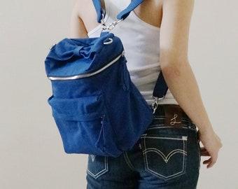BACK TO SCHOOL 50% Royal Blue Convertible Backpack, Personalized gift, Sling Bag, Crossbody bag, Shoulder Bag, Zipper Bag, Barrel Bag