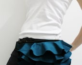Ruffled Waist Pouch in Teal, Fanny Pack, Travel Pouch, Hip Bag, Zipper Pouch, Bridesmaid Gift, Gift Ideas  for Women - RWP -  SALE 30% OFF