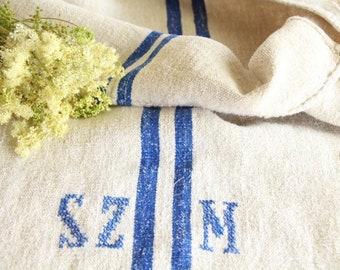 antique charming french linen grainsack grain sack JX 356