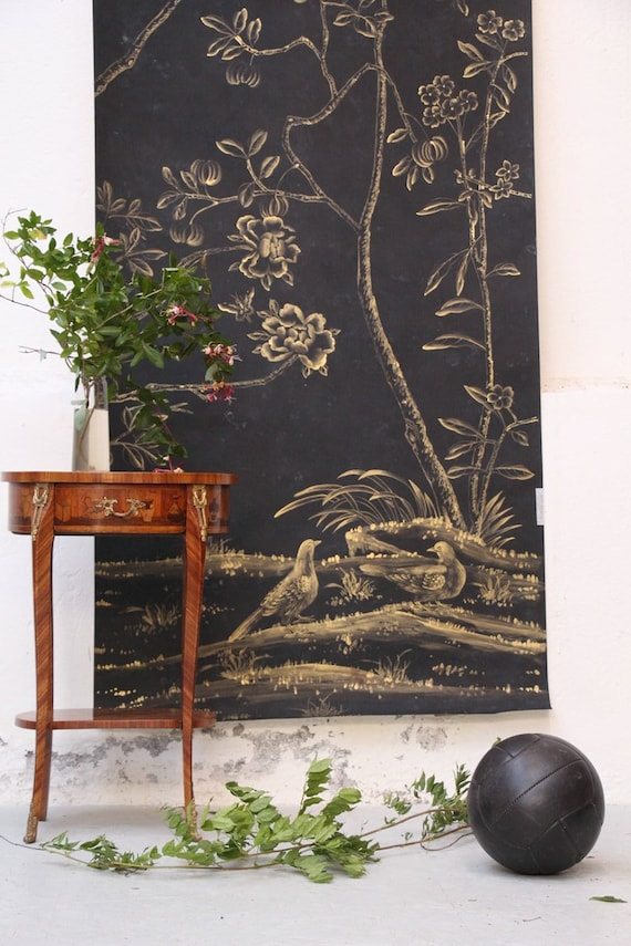 W 1 Hand Painted Silk Wallpaper Antique Patina Handmade Etsy