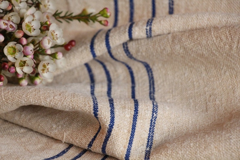 6.99y grainsack TP 118: grain sack fabric by the yard linen by the yard handloomed,COBALT BLUE 18.50wide pillow,french lin,upholstery