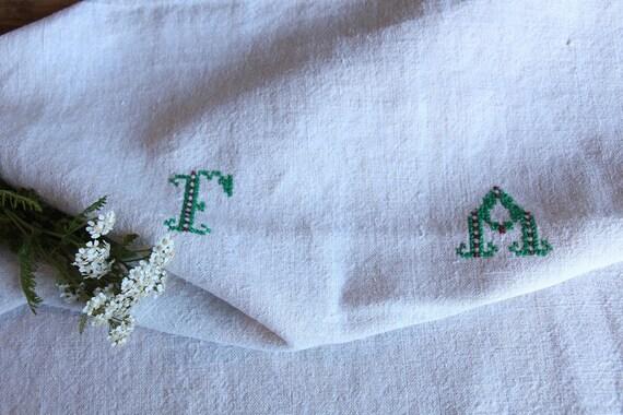 D 61: handloomed lin antique charmant serviette SERVIETTE, BLANCHIS, 리넨, décoration; tablerunner