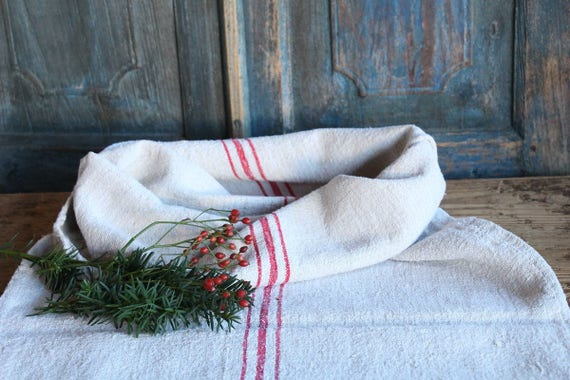 vintage French grainsack with red stripes