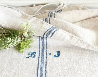 antique charming french linen grainsack grain sack JX 380