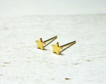 Mini Gold Star Stud Earrings, Dainty Star Earrings