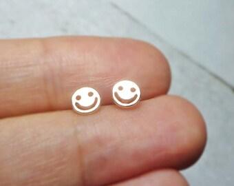 Smiley Face Stud Earrings, Dainty Earrings