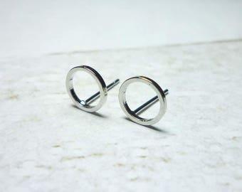 Circle Stud Earrings, Dainty Earrings