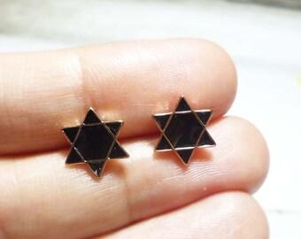 Black Hexagram Stud Earrings, 6 Pointed Star Earrings