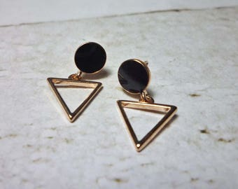 Open Triangle Drop Stud Earrings, Triangle Earrings