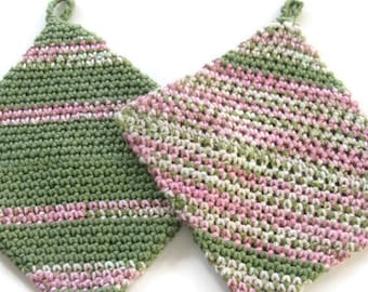 Ready To Ship - Pair of 100% Cotton Crocheted Hot Pads - Double Thickness Pot Holders - Crochet Cotton Potholders