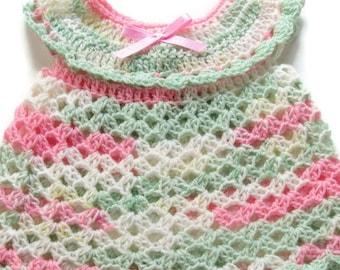 531838cea266 Crochet Baby Dress - Crocheted Newborn Dress - Pink Green White Baby Dress  - Newborn Baby Dress - Size 0-3 Months