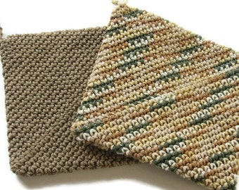 Ready To Ship - Pair of 100% Cotton Crocheted Hot Pads - Double Thickness Pot Holders   - Crochet Cotton Potholders - Brown