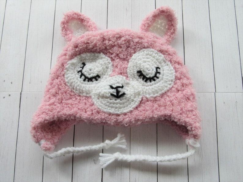 758d89e8bdf Ready To Ship Fluffy Llama Earflap Hat Pink Baby Girl Hat