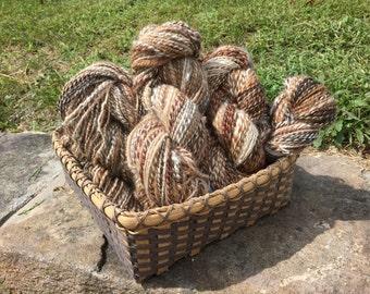 BULKY Handspun yarn - Alpaca random naturals all one of a kind