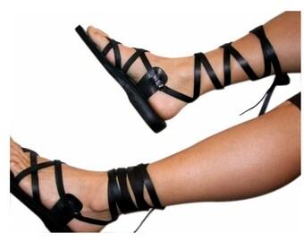 c741c7b28d77 Black Gladiator Leather Sandals For Men   Women - Handmade Sandals