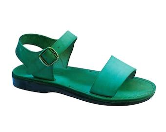 12d885b215b7 Green Desert Leather Sandals For Men   Women - Handmade Sandals