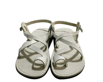 7bb65d988d3090 White Roxy Leather Sandals For Men   Women - Handmade Unisex Sandals