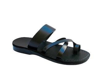d56e8214b Black Bath Leather Sandals For Men   Women - Handmade Sandals