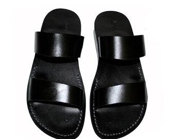 9bc3db9c605918 Black Bio Leather Sandals For Men   Women - Handmade Unisex Sandals