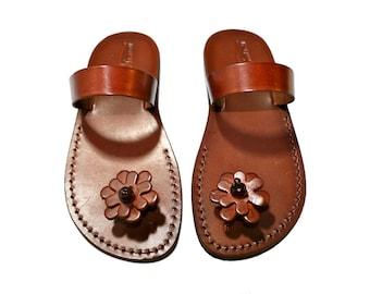 3a9518a8d Brown Flower Pop Leather Sandals For Men   Women - Handmade Unisex Sandals