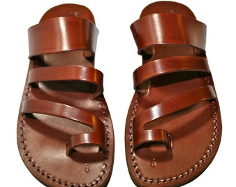 904024e2723 Brown Double-roman Leather Sandals For Men   Women - Handmade Sandals