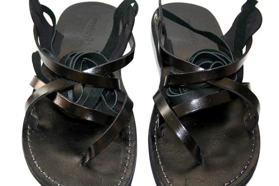 amp; Black Leather triple Leather Flats Design Sandals Sandals For Sandals Gladiator Black Handmade Women Unisex Sandals Men Gladiator rwq4rX7