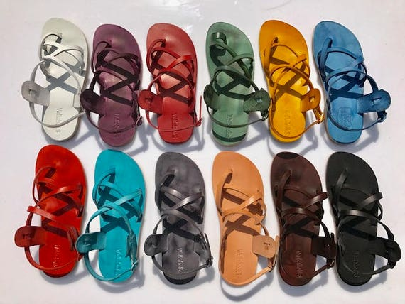 Sandals Men Women amp; Sandals Handmade Black Flip Jesus Sandals Flop Black Sandals Rainbow For Leather Leather Unisex Sandals EnIqIR