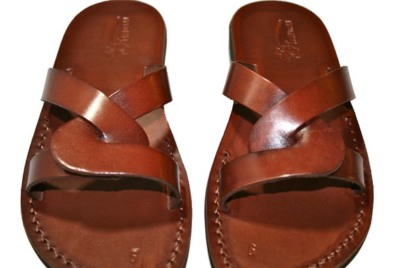 Genuine Jesus Brown Flip Sandals amp; Handmade Men Tumble Leather Women Leather Sandals Sandals For Sandals Unisex Flop Sandals wwyZgOcq1