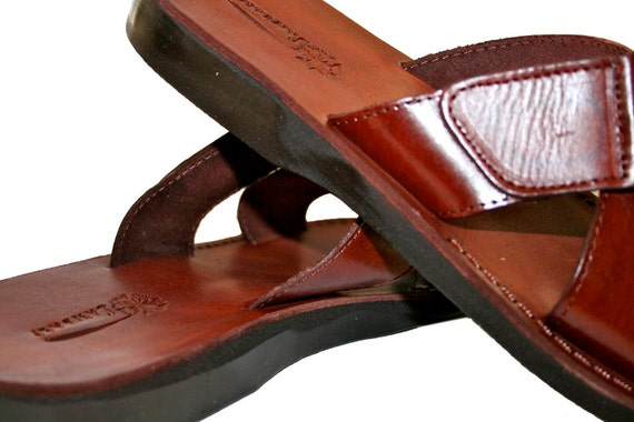 Sandals Handmade Genuine Men Sandals Tiger amp; Brown Sandals Sandals Jesus Women Sandals For Brown Leather Unisex Flip Flop Leather 1nHpxn0