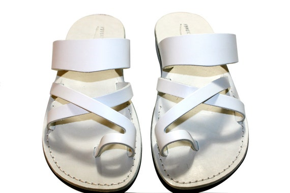 White Leather Jesus Sandals Sandals Flip Sandals Leather Men Women Sandals For Bath Leather Sandals Wedding amp; Flops Handmade White wq7axTp
