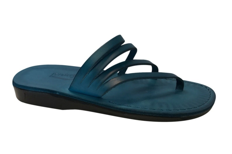 f523945230204 Blue Rainbow Leather Sandals For Men & Women - Handmade Sandals, Leather  Flats, Leather Flip Flops, Unisex Sandals, Blue Leather Sandals