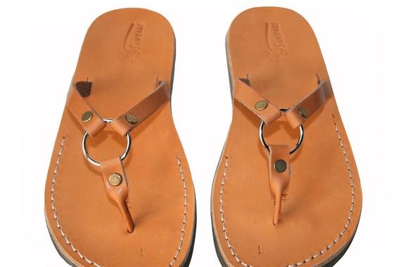 Leather amp; Flip Flops Sandals Unisex Handmade Sandals Women Leather Caramel Men For Leather Flats Skinny Sandals Sandals Natural qAxAzX