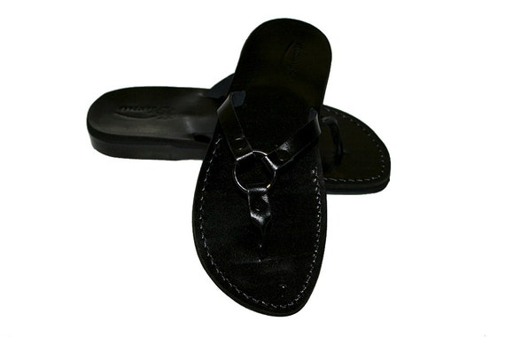 Black Jesus Sandals Unisex Leather Handmade Black Leather Genuine Sandals For Flip amp; Sandals Men Flop Sandals Sandals Skinny Women OBqrSxw8On