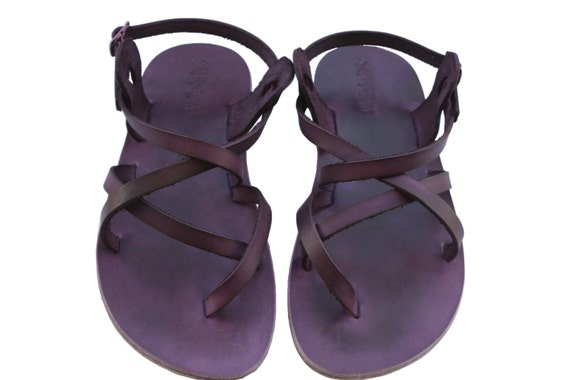 Handmade amp; Triple Unisex Sandals Leather Sandals Violet Sandals Leather Women Flops Men Brown Sandals Flats Flip For Leather AqXwqxd6H0
