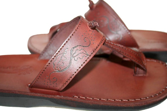 Brown Decor amp; Sandals Flops Sandals Sandals For Sandals Flip Twizzle Leather Leather Flat Brown Handmade Women Men Leather Unisex Hw1gaa
