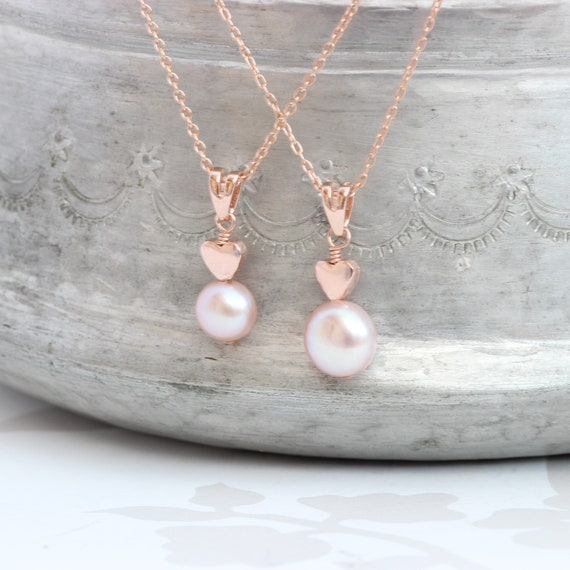 Mother And Child Pink Pearl Pendants With Rose Gold Heart Set Etsy