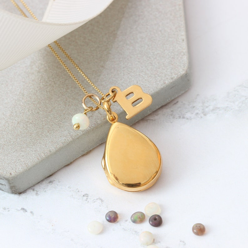 Rose Gold or Gold with an Opal for October Birthday Gifts Personalised Modern Teardrop Photo Locket Necklace in Sterling Silver