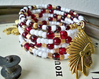 Garnet & Gold Beaded  Wrap Bracelet - FSU Florida State - Chief and Feather Charms - Bohemian - Boho Chic - One size fits all - bycat