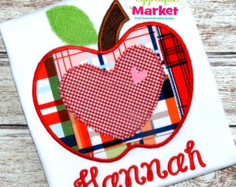 Machine Embroidery Design Applique Apple with Heart INSTANT DOWNLOAD